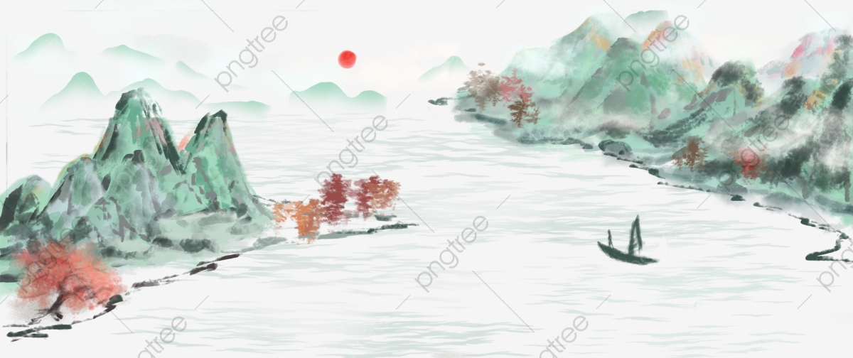 Chinese style ink ancient. Clipart lake landscape painting