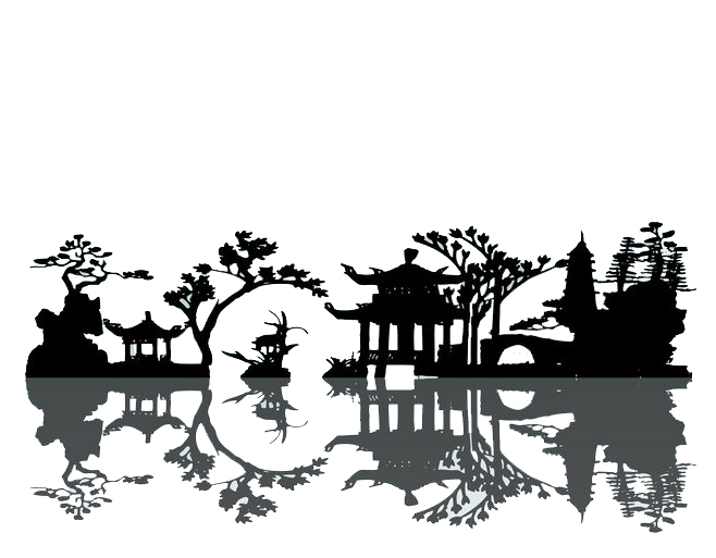 Tree clipart landscape. China silhouette painting chinese