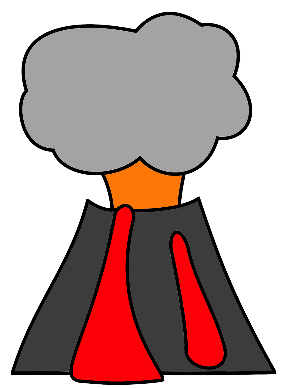 Clipart mountain volcano. Lava ash smoke