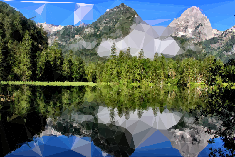 Low poly mountain medium. Lake clipart water reflection