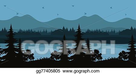 Vector art seamless landscape. Lake clipart mountan