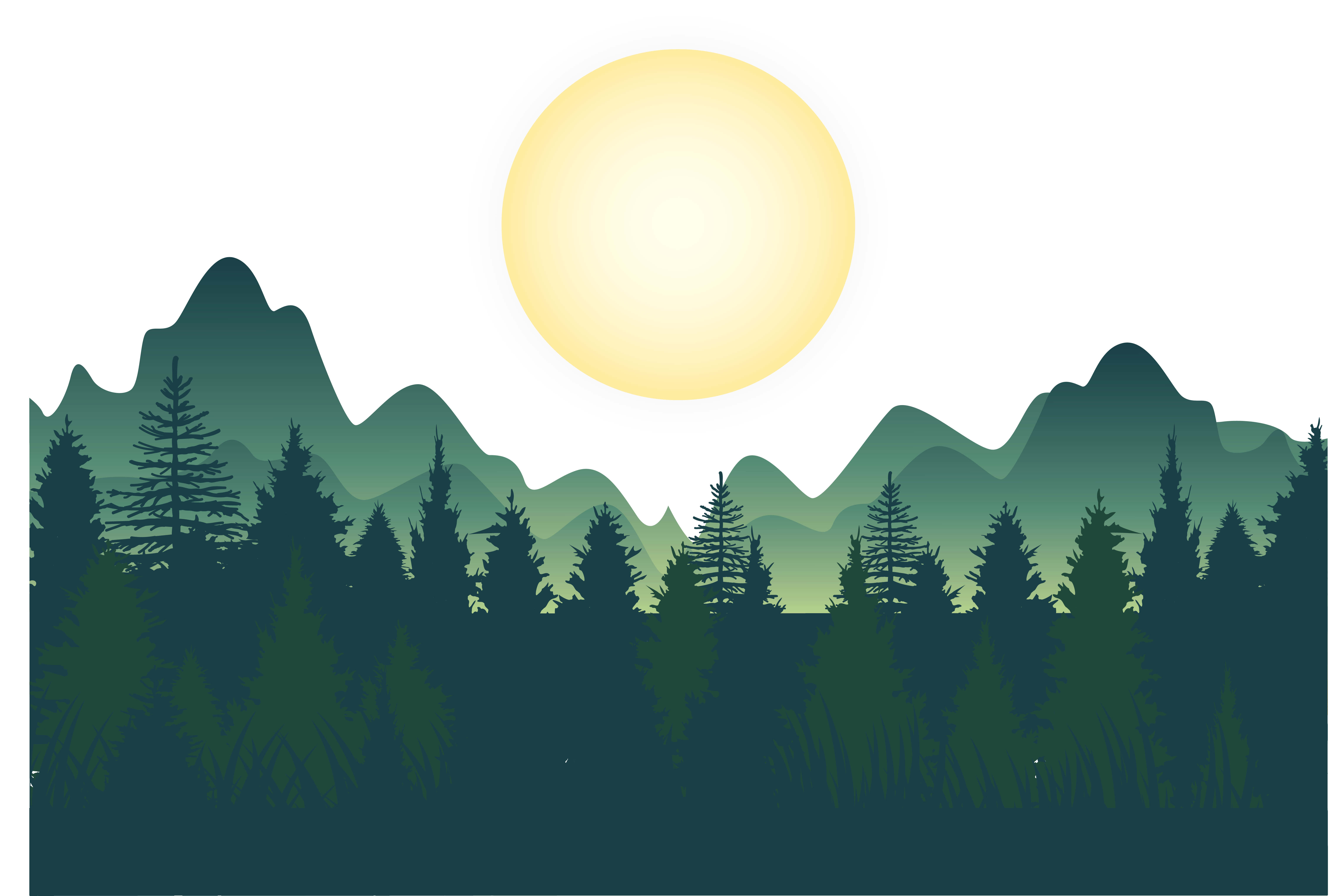 Forest night deep mountains. Clipart lake mountain wallpaper