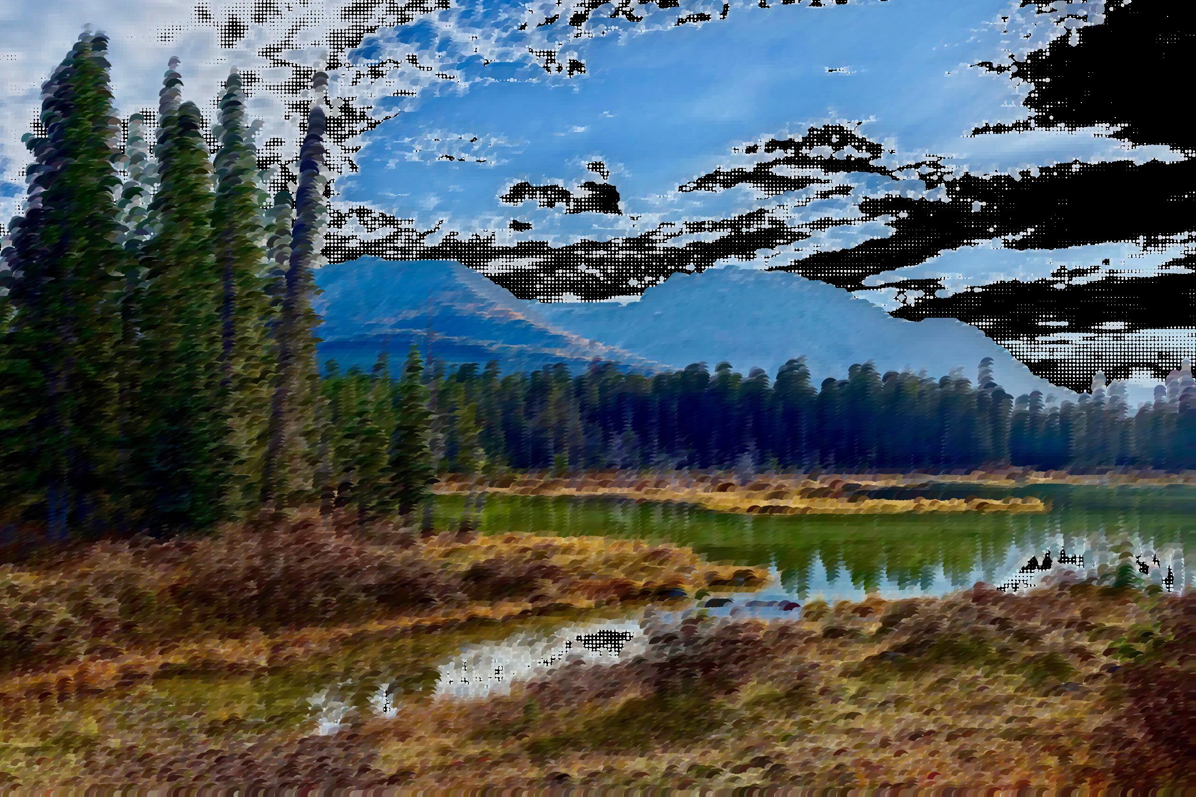 Surreal landscape big image. Lake clipart natural environment