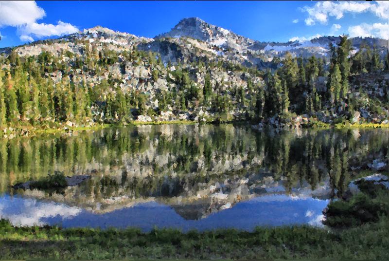 High poly mountain medium. Clipart lake mountan