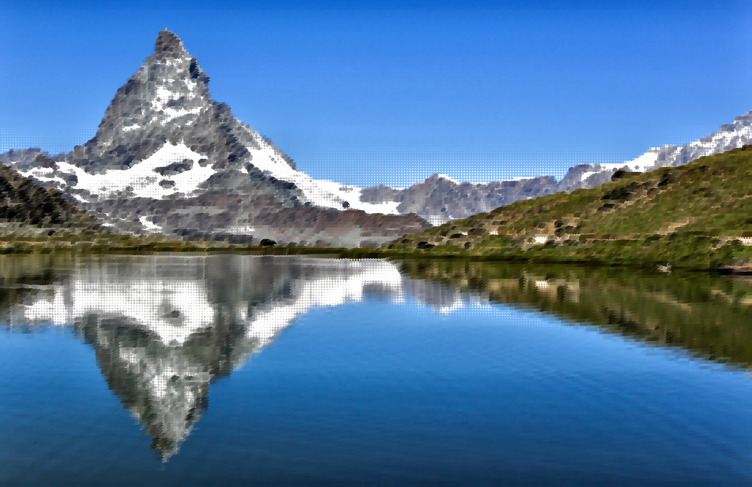 Surreal swiss mountain lake. Clipart mountains water