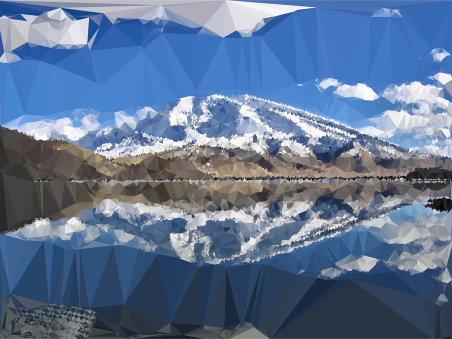 Winter snow mountain sky. Clipart lake moutains