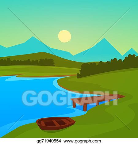 Vector dock illustration gg. Lake clipart lake picnic