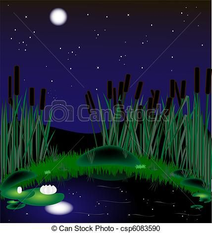 Vector of night moonlit. Lake clipart pond reed
