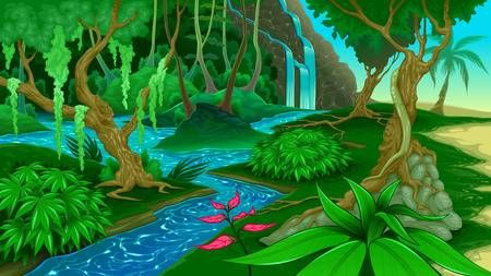 Stock vector paintings in. Lake clipart jungle