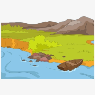 Famous scenery tourist crater. Lake clipart river bank