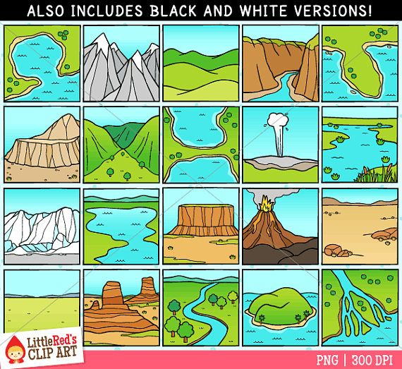 Lake clipart landform. A collection of clip