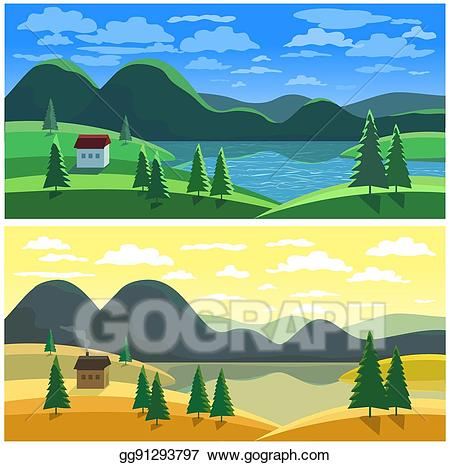 Vector illustration mountain landscape. Lake clipart river valley