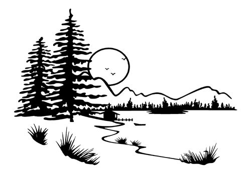 Scene coloring pages mountain. Lake clipart woods