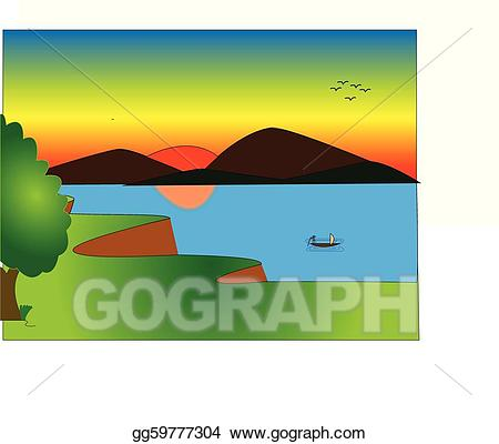 Eps vector natural beauty. Lake clipart scenic