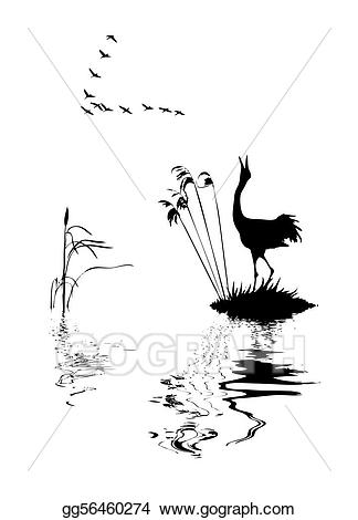 Eps vector of the. Lake clipart silhouette