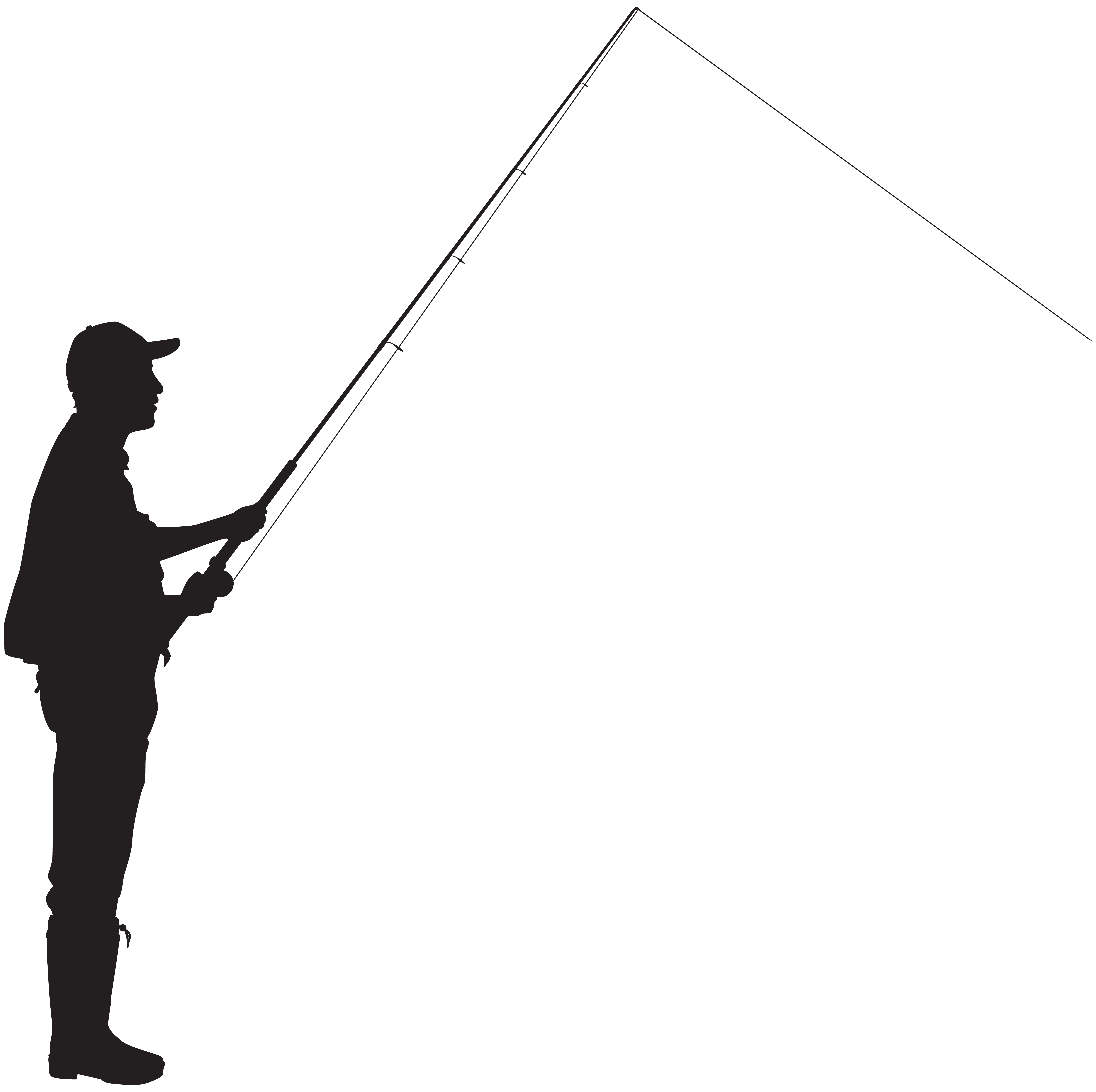 Silhouette of fisherman at. Fishing clipart fisher