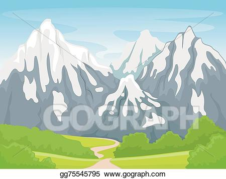 Vector art mountain scene. Lake clipart snowy scenery