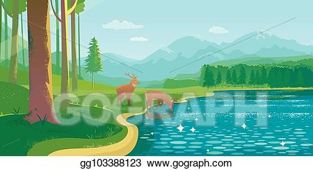 Eps vector landscape with. Lake clipart summer lake