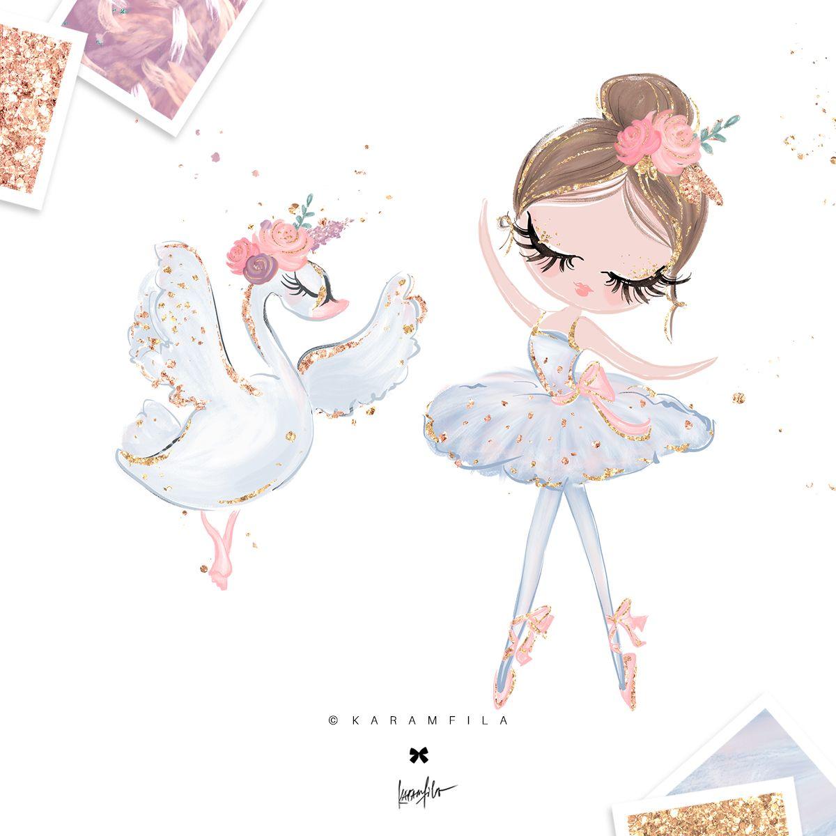 Lake clipart swan. Art baby girl cute