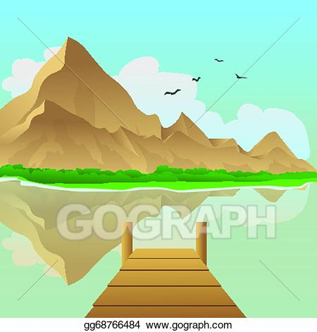 Vector illustration dock on. Lake clipart terrain