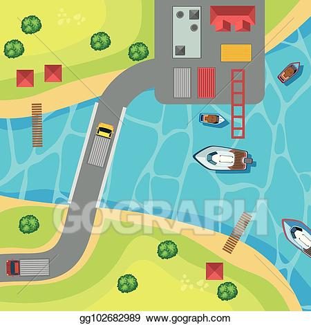 Lake clipart top view. Vector art of park