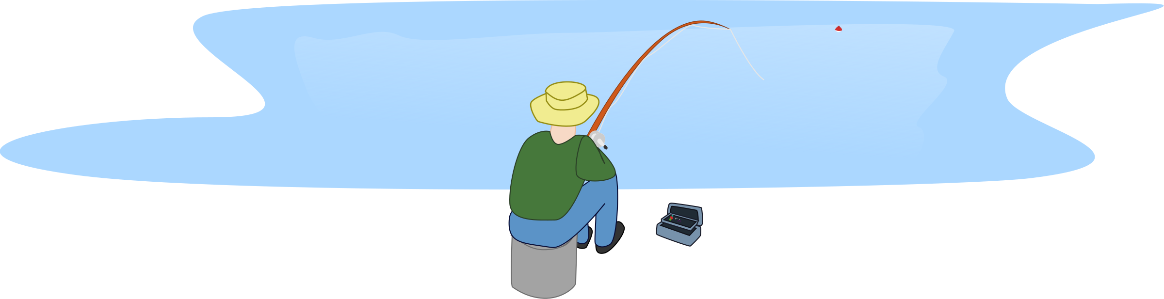 Fisherman fishing sitting by. Clipart lake transparent
