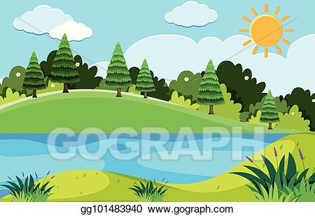 Lake clipart trees. Vector art pine and