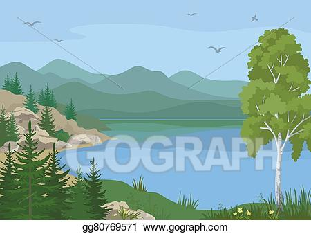 Hills clipart lake mountain. Vector illustration landscape with