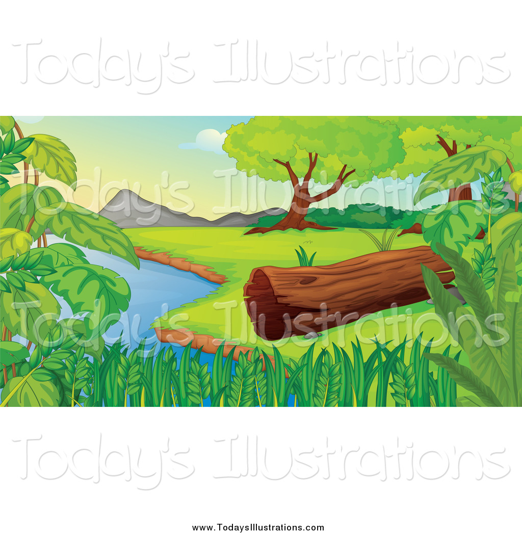 Lake clipart trees. Of a log by