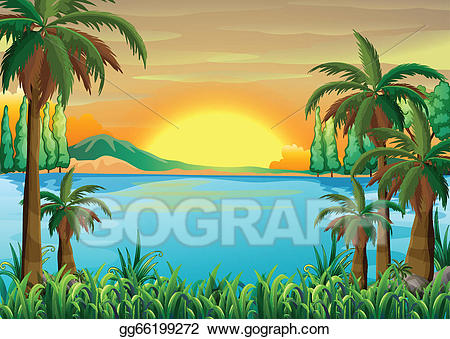 Lake clipart view. Eps illustration a of