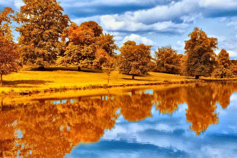 Lake clipart natural environment. Autumn by the medium