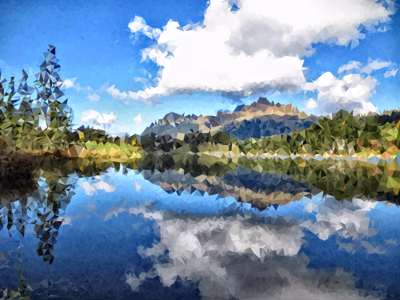 Low poly reflection medium. Lake clipart natural environment