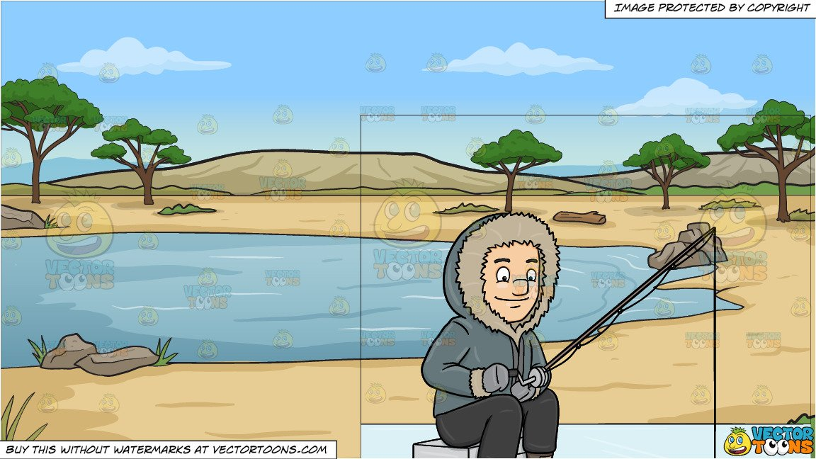 A man ice fishing. Lake clipart watering hole