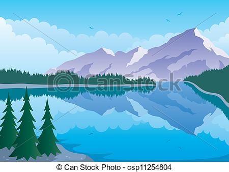 Free mountain clip art. Lake clipart mountan