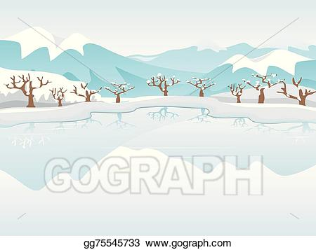 Eps illustration vector gg. Lake clipart frozen lake