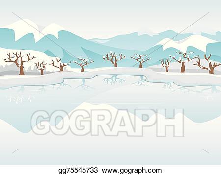 Winter clipart lake. Eps illustration frozen vector