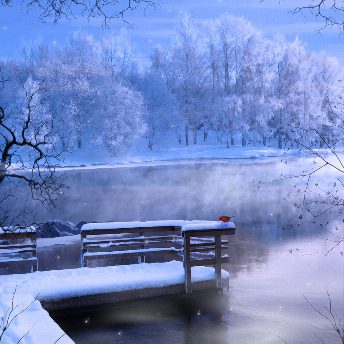 Clipart winter lake. Background painting gallery yopriceville