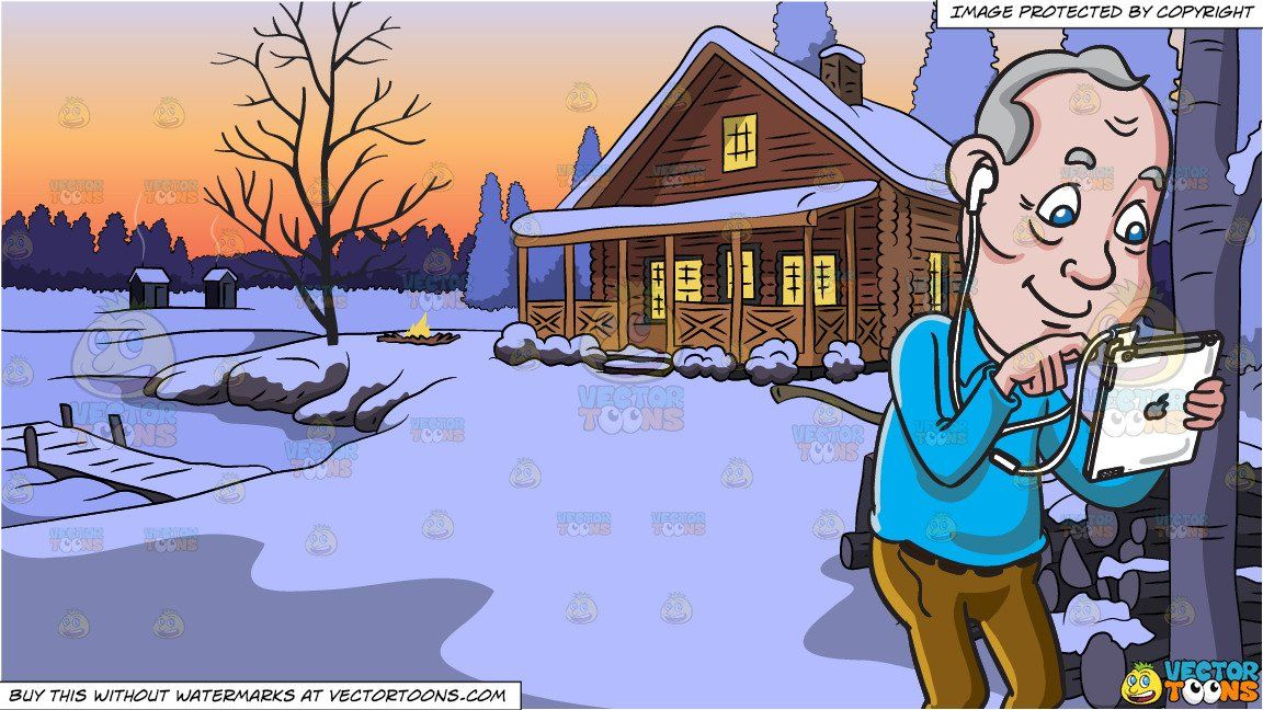 Cartoon an old man. Winter clipart lake