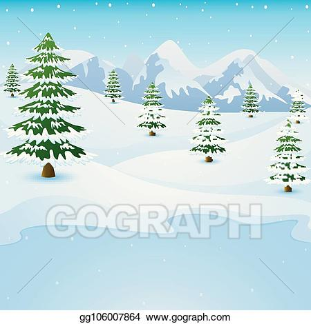 Lake clipart winter. Vector mountain landscape with