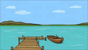 Lake clipart lake boat. A long wooden dock