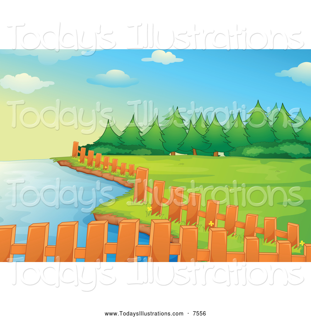 Lake clipart woods. Of fencing along a