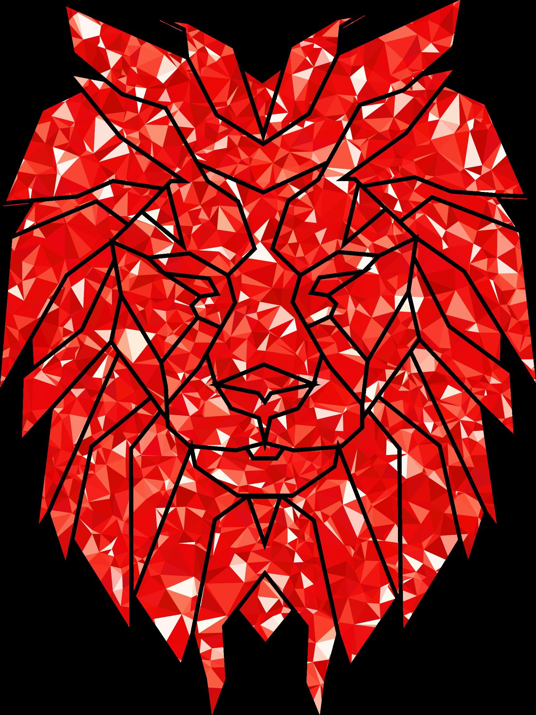 Diamonds clipart ruby. Polygonal lion face big
