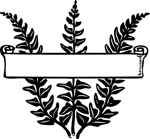 Scroll ribbon title over. Fern clipart outline