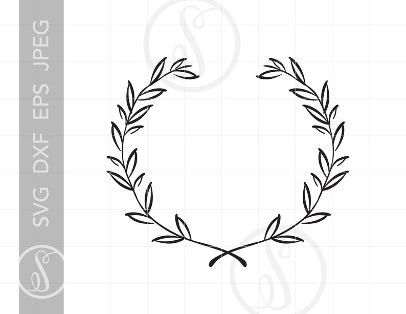 Laurel wreath art svg. Leaf clipart filigree