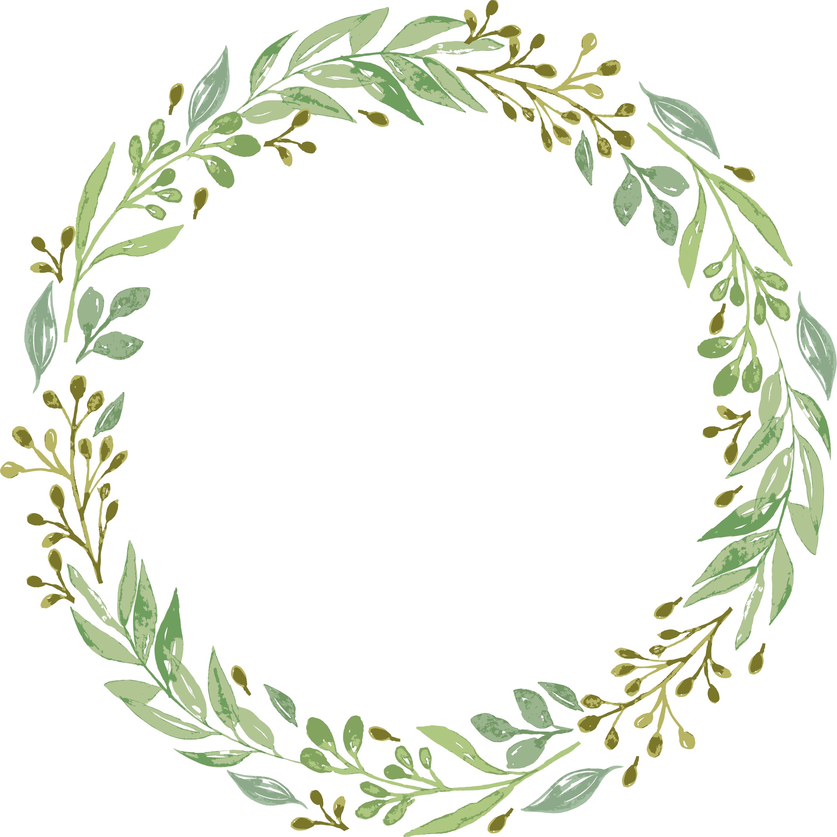 Wedding invitation wreath clip. Garland clipart green garland