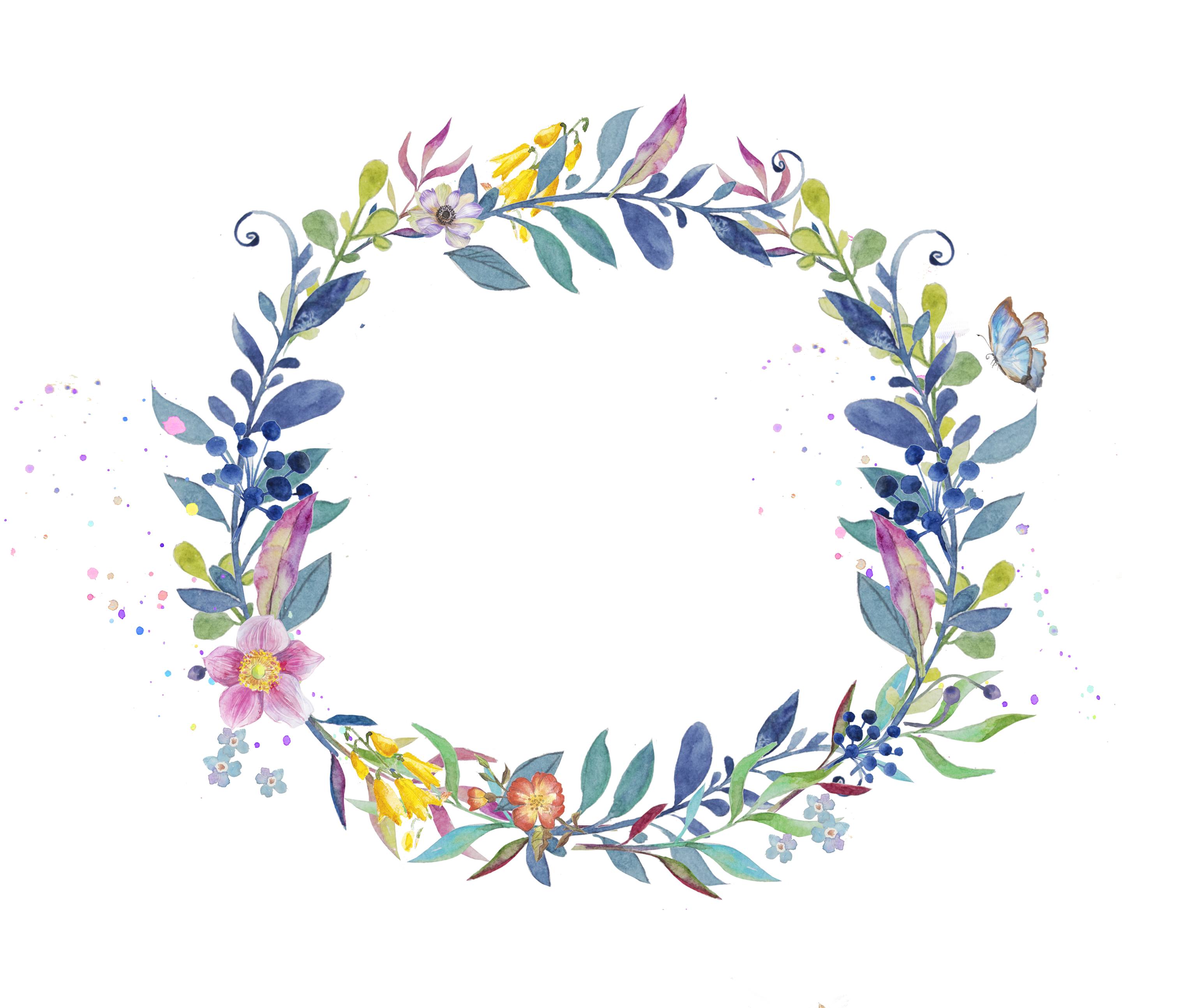 Garland clipart leaves. Wreath watercolor painting clip