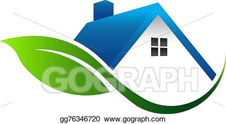 Vector logo illustration . Clipart leaf house