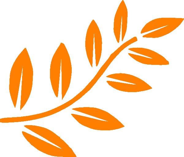 Leaf clipart icon. Orange branch clip art
