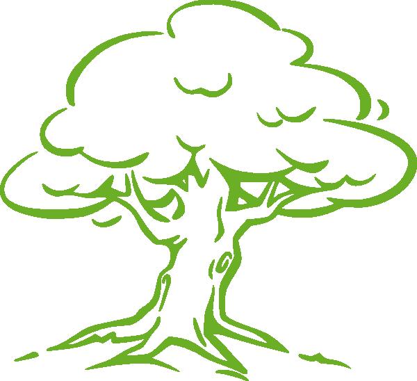 Tree clipart colour. Green oak clip art