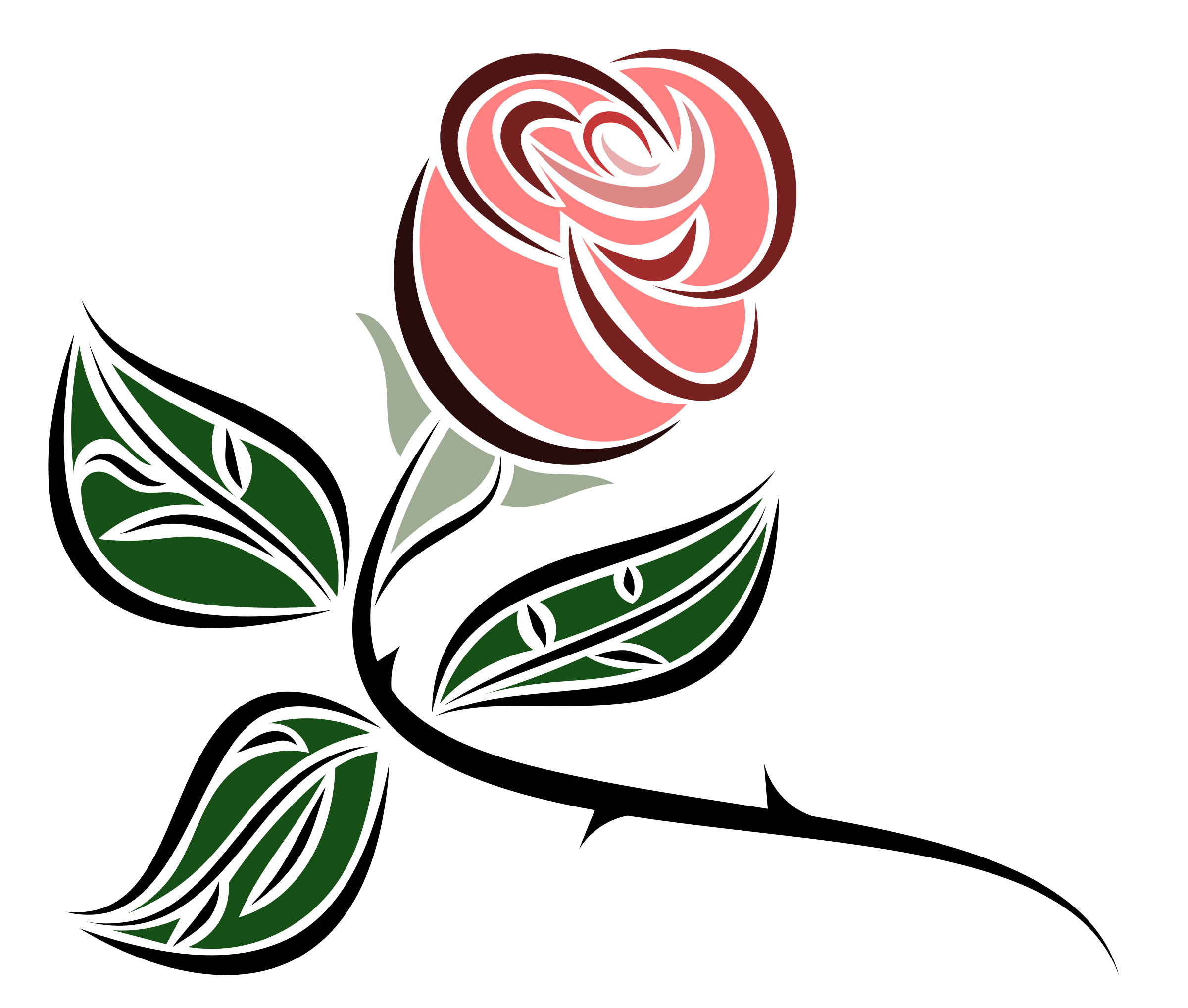 Rose clipart leaf. Stylized
